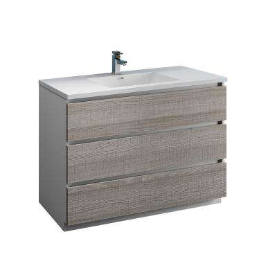 Lazzaro 48 in. Modern Bathroom Vanity in Glossy Ash Gray with Vanity Top in White with White Basin