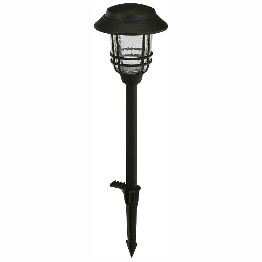 Hampton Bay Low Voltage Black Outdoor Integrated Led Mission Style Landscape Path Light With Seeded Gl