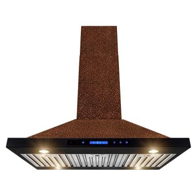 AKDY 36 in. Convertible Kitchen Island Range Hood in Embossing Copper with Halogen and Touch Panel