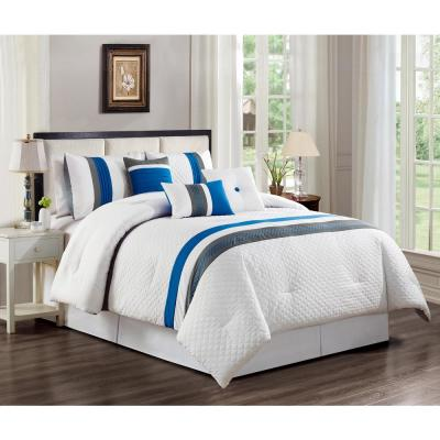MHF Home Max Striped 7-Piece Queen Comforter Set