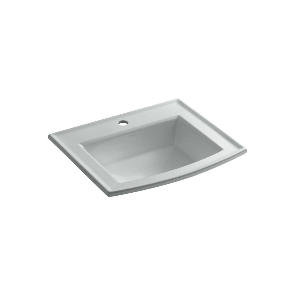 Archer Drop-In Vitreous China Bathroom Sink in Ice Grey with Overflow