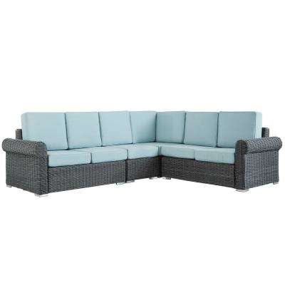 Camari Charcoal Rolled Arm Wicker Outdoor Sectional with Blue Cushion