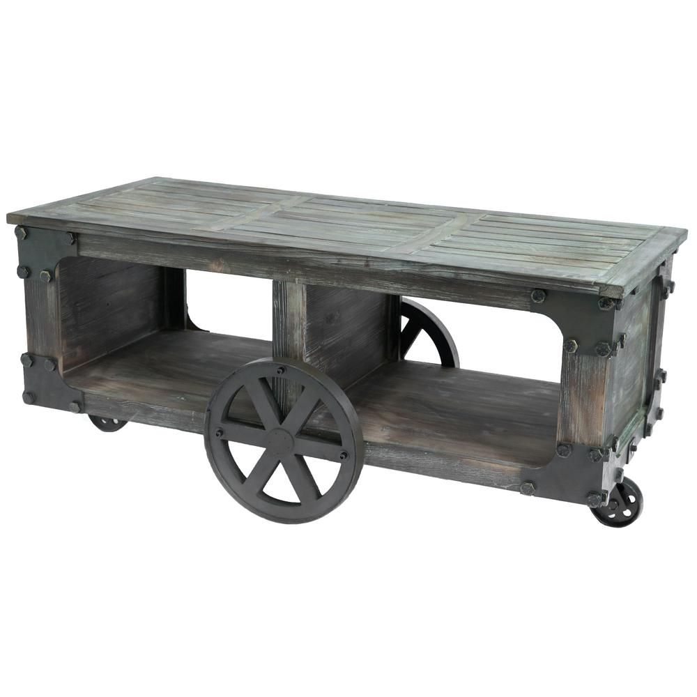 Large Coffee Table Industrial Style: Vintiquewise Rustic Industrial Style Wagon Large Coffee