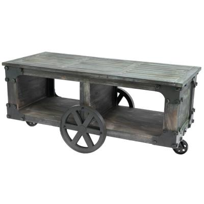 Rustic Industrial Style Wagon Large Coffee Table with Shelf and Wheels
