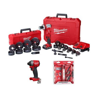 M18 18-Volt Lithium-Ion 1/2 in. to 4 in. Force Logic 6 Ton Cordless Knockout Tool Kit W/ Impact Driver & Step Bits