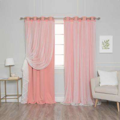 84 in. L Coral Marry Me Lace Overlay Blackout Curtain Panel (2-Pack)