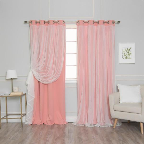 Coral 96 in. L l Marry Me Lace Overlay Blackout Curtain Panel (2-Pack)