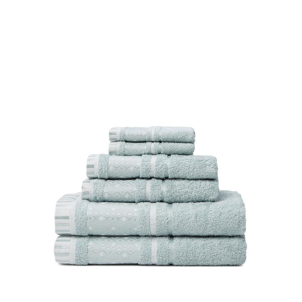 Balio 6-Piece Surf Solid Turkish Cotton Bath Towel Set