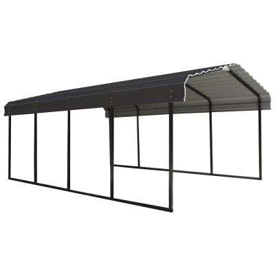 12 ft. W x 20 ft. D Charcoal Galvanized Steel Carport, Car Canopy and Shelter