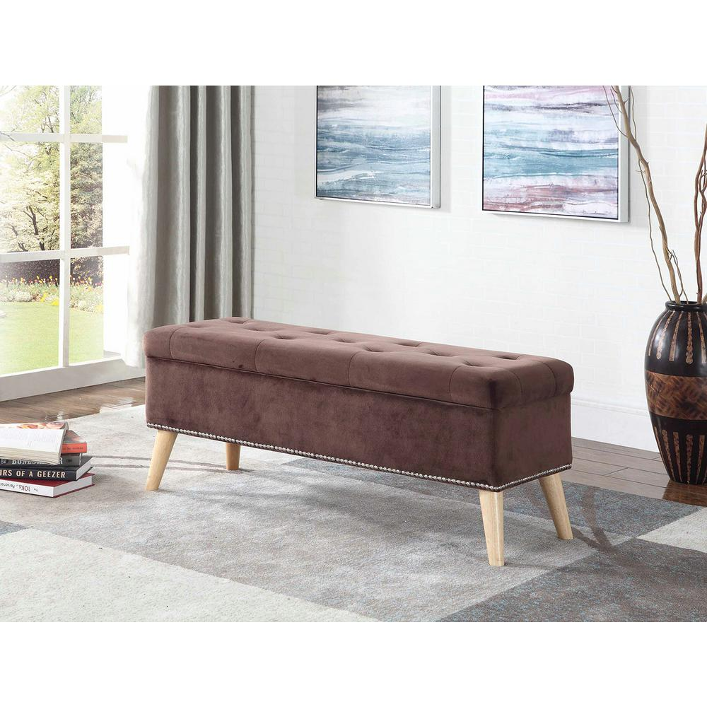 17 in. Brown Mid-Century Tufted Bench with Storage