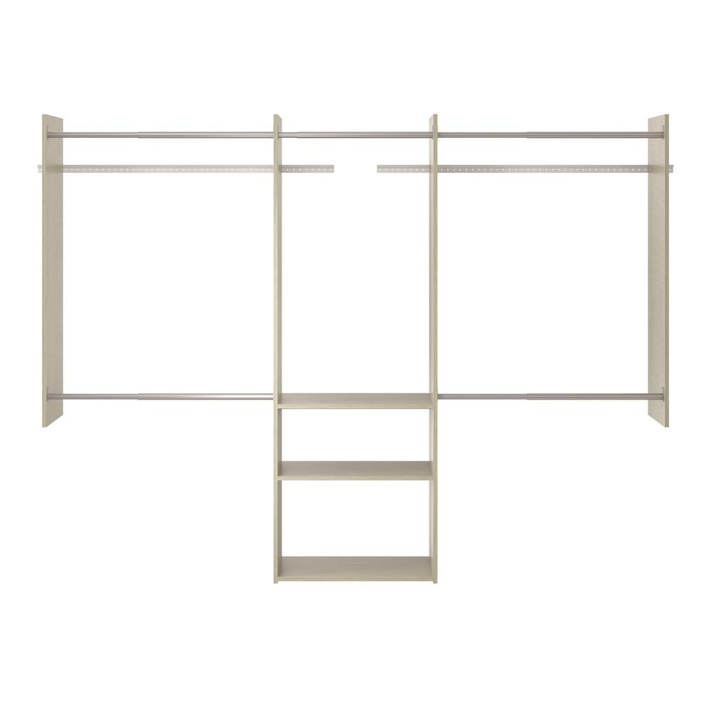 Martha Stewart Living 14 In D X 96 In W X 72 In H Rustic Grey Wood Deluxe Starter Closet Kit