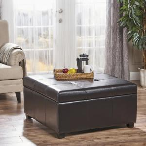Enjoyable Noble House Carlsbad Espresso Brown Bonded Leather Storage Beatyapartments Chair Design Images Beatyapartmentscom