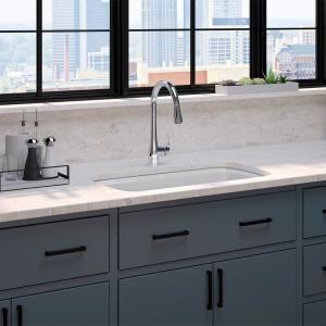 Brookfield Undermount Cast Iron 33 in. Double Bowl Kitchen Sink with Simplice Faucet