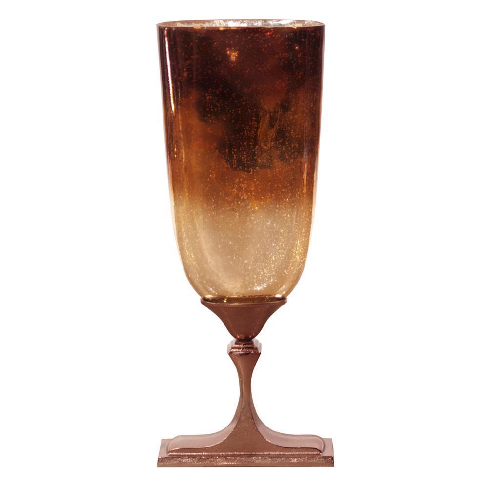 Tall Bronze Glass with Bronze Aluminum Vase