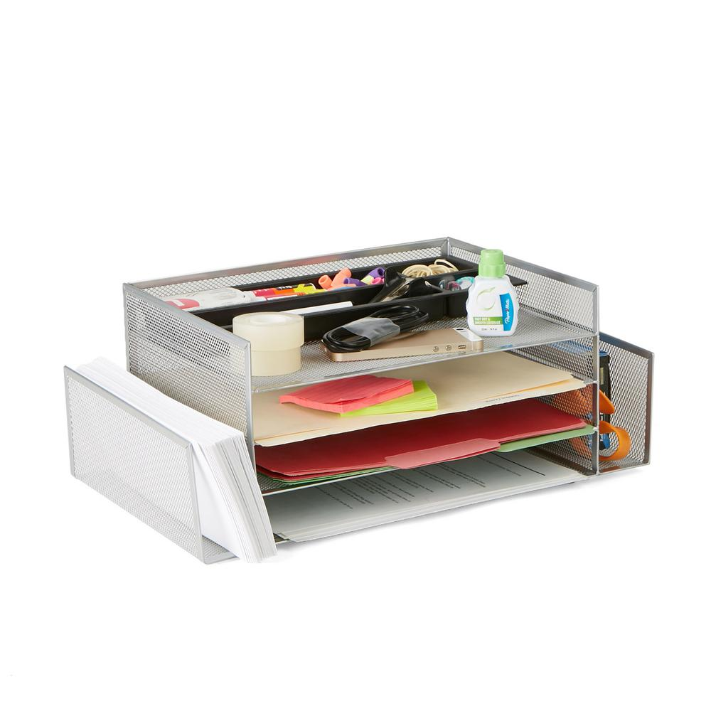 Mind Reader Desk Organizer With 2 Side Storage Compartments In Silver