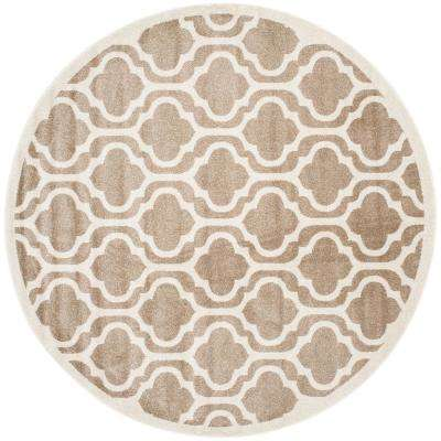 Amherst Wheat/Beige 7 ft. x 7 ft. Indoor/Outdoor Round Area Rug