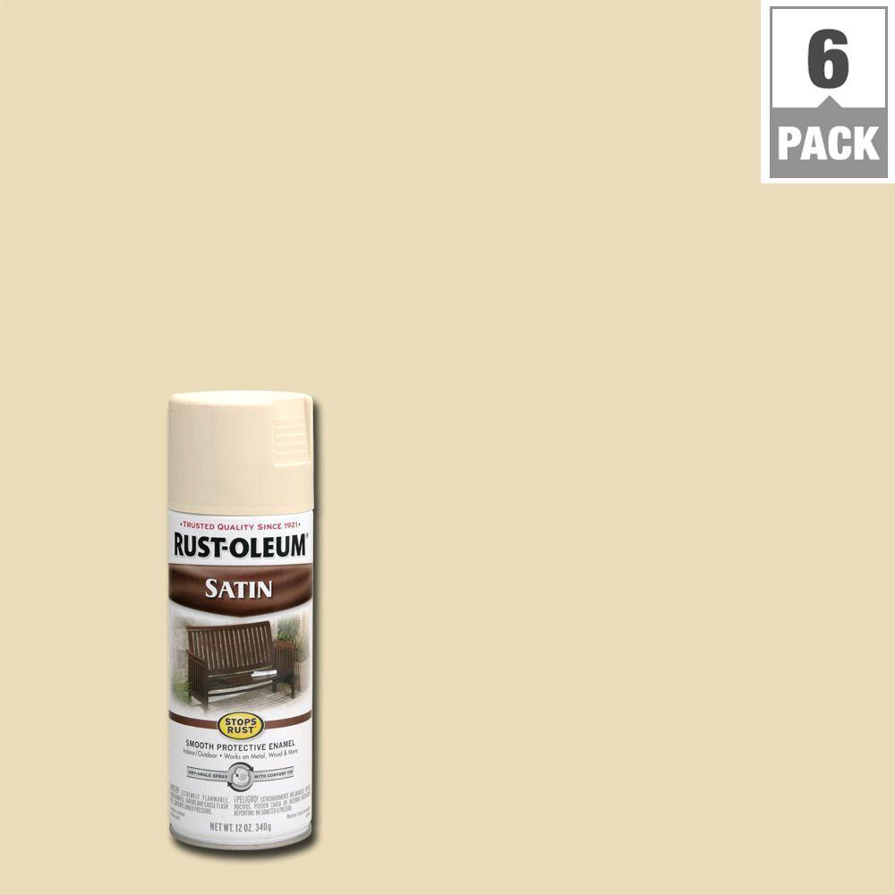 12 oz. Protective Enamel Satin Almond Spray Paint (6-Pack)