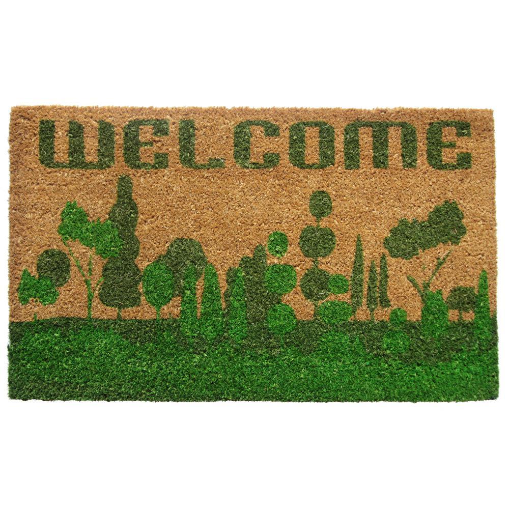 PVC Backed Coir, Welcome Nature, 30 in. x 18 in. Natural Coconut Husk Door Mat