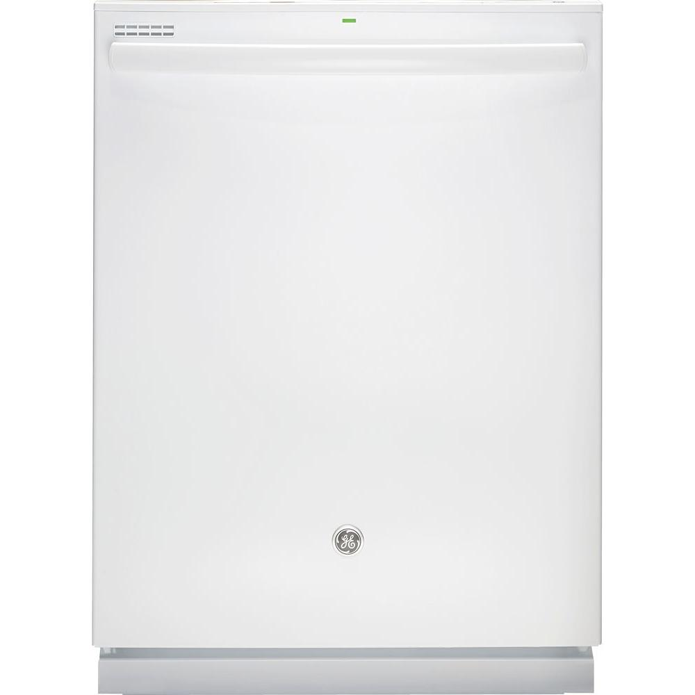 GE Top Control Dishwasher in White with Steam Cleaning