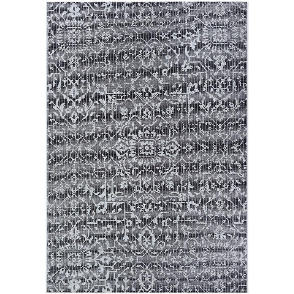 Monte Carlo Palmette Black-Grey-Ivory 3 ft. 9 in. x 5 ft. 5 in. Indoor/Outdoor Area Rug