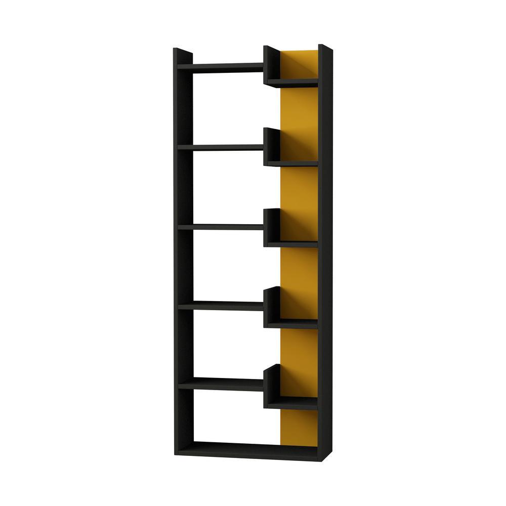 Ada Home Decor Bonaparte Anthracite and Mustard Modern Bookcase DCRB2155