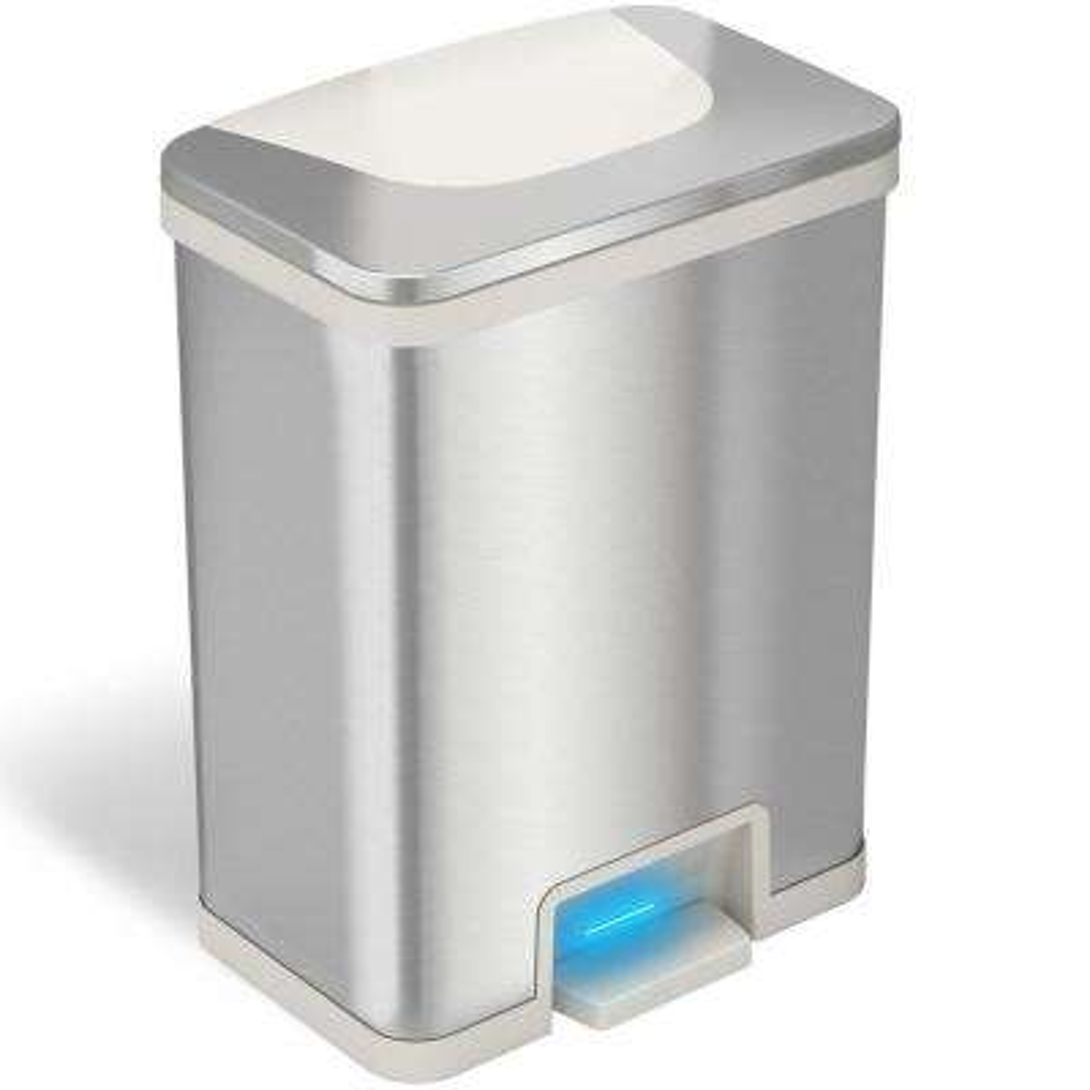 TapCan 13 Gal. Step Pedal Sensor Trash Can (White Trim)