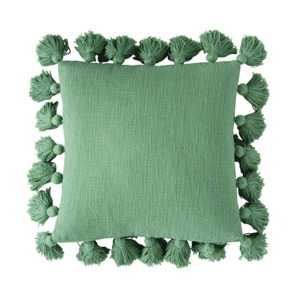 Green Solid 18 in. x 18 in. Throw Pillow