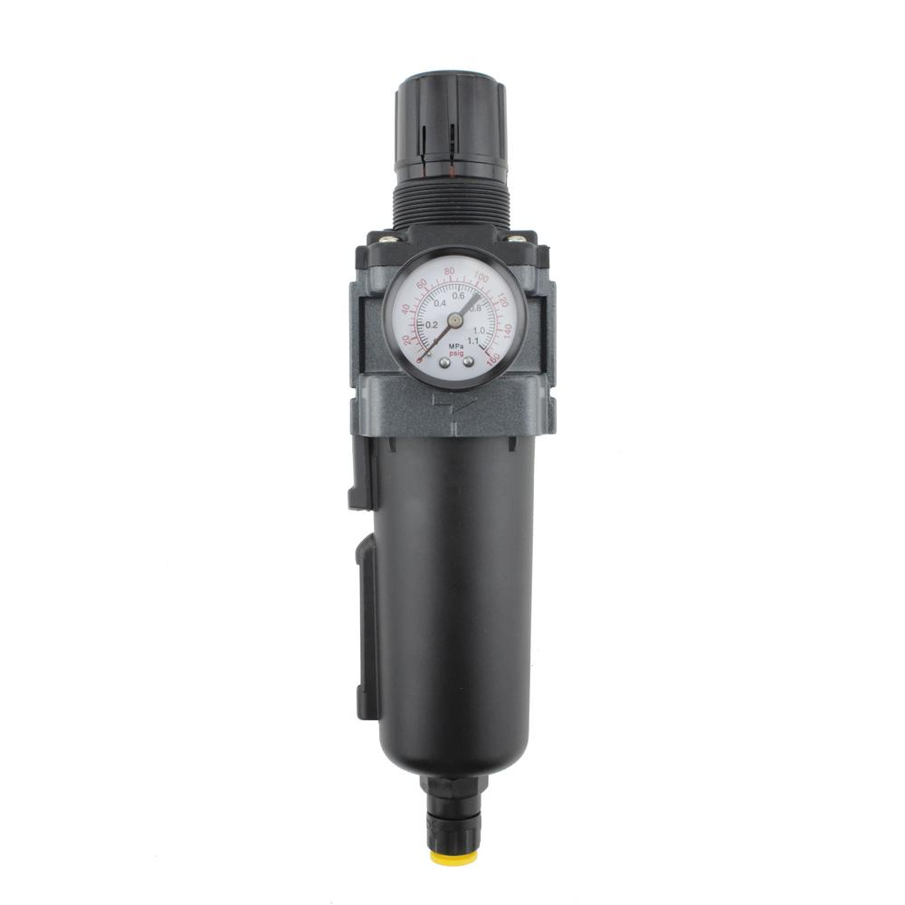 1/8 in. NPT Mini Polycarbonate FRL Air Filter Regulator with Lubricator