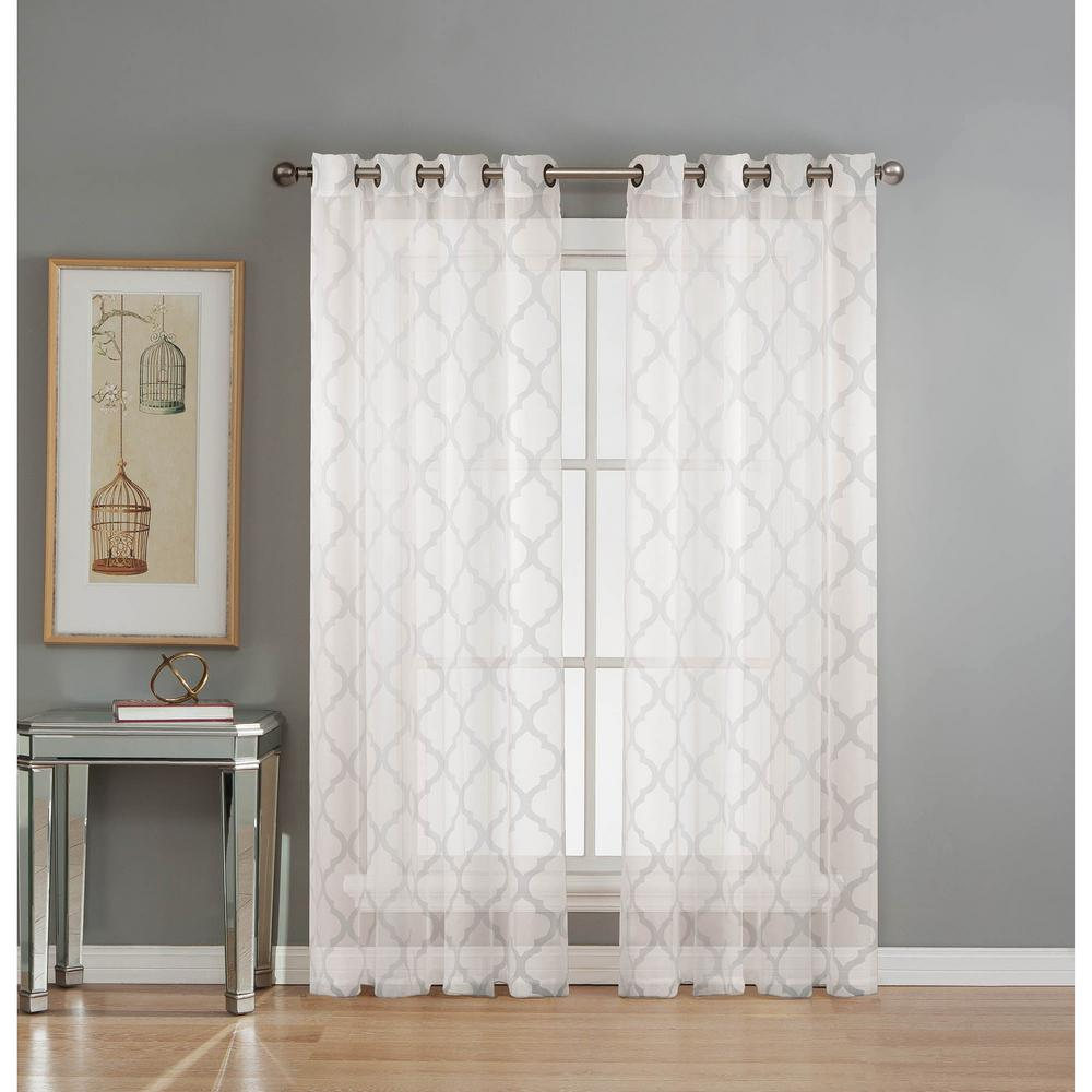Window Elements Sheer Lattice Cotton Blend Burnout Sheer 84 In L Grommet Curtain Panel Pair