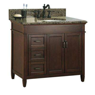 Ashburn 37 in. W x 22 in. D Bath Vanity Cabinet in Mahogany with Granite Vanity Top in Quadro with White Basin