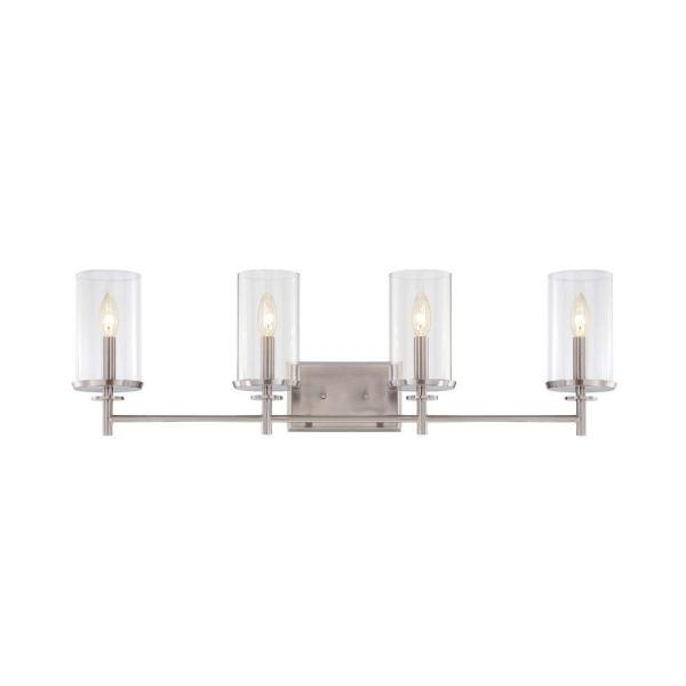 Harlowe 4-Light Satin Platinum Interior Incandescent Bath Vanity Light