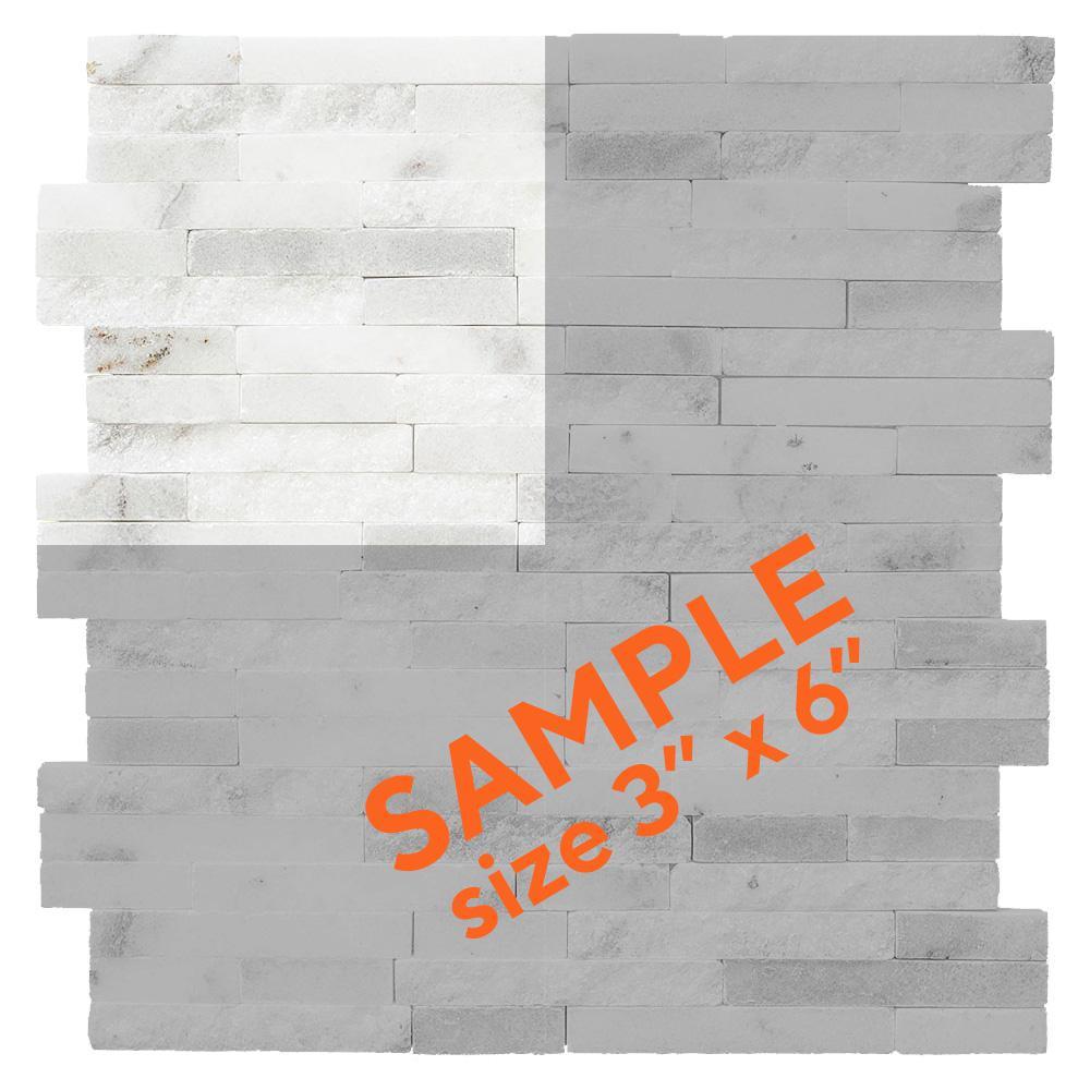 Churchill White Split Face 3 in. x 6 in. x 13 mm Marble Mosaic Tile Sample