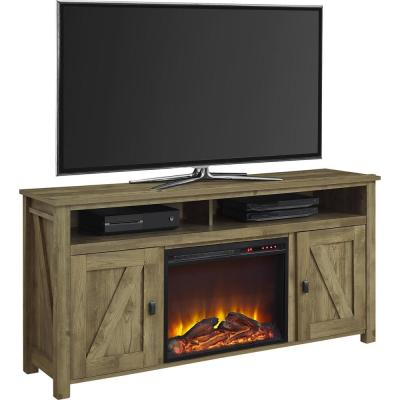 Brownwood Light Pine 60 in. TV Console with Fireplace