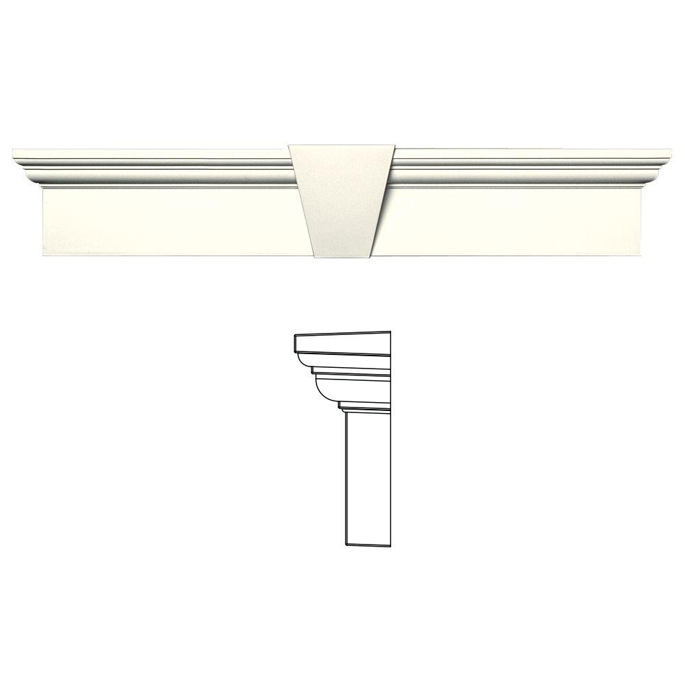 Builders Edge 6 in. x 33-5/8 in. Flat Panel Window Header with Keystone in 034 Parchment