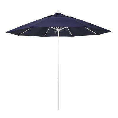 9 ft. Fiberglass Market Pulley Open M White Patio Umbrella in Navy Blue Olefin