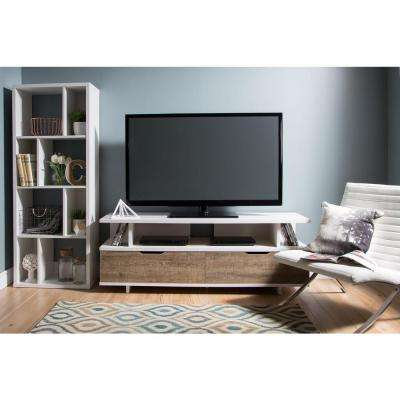 Reflekt Weathered Oak and Pure White Storage Entertainment Center