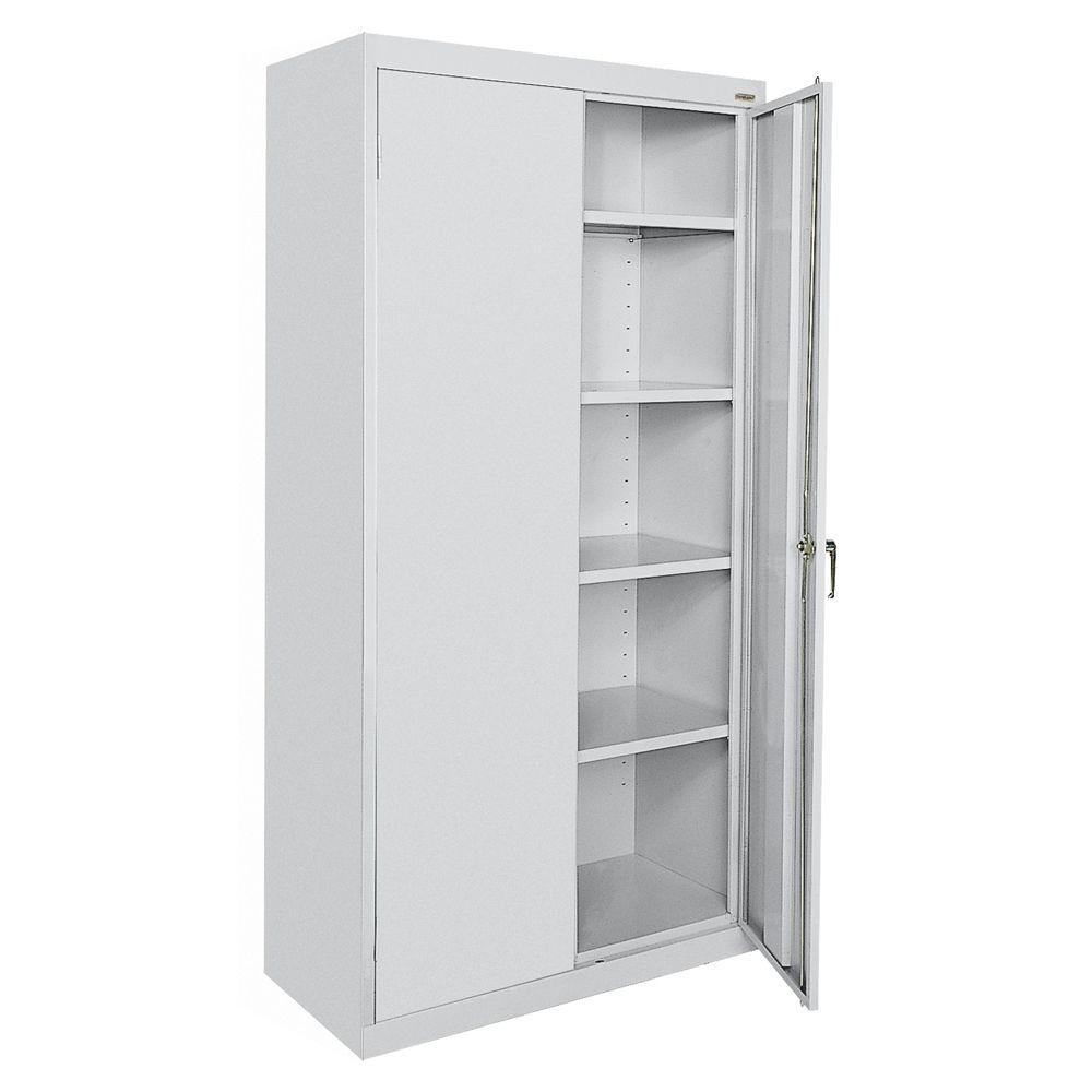 Sandusky Clic Series 72 In H X 36 W 18 D Steel Frestanding Storage Cabinet With Adjule Shelves Dove Gray