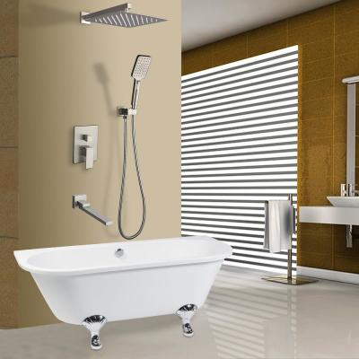 3-Spray with 2.5 GPM 12 in. 3 Functions Tub Wall Mount Dual Shower Heads in Spot in Polished Chrome (Valve Included)
