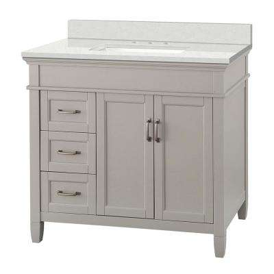 Ashburn 37 in. W x 22 in. D Vanity Cabinet in Grey with Engineered Marble Vanity Top in Snowstorm with White Basin