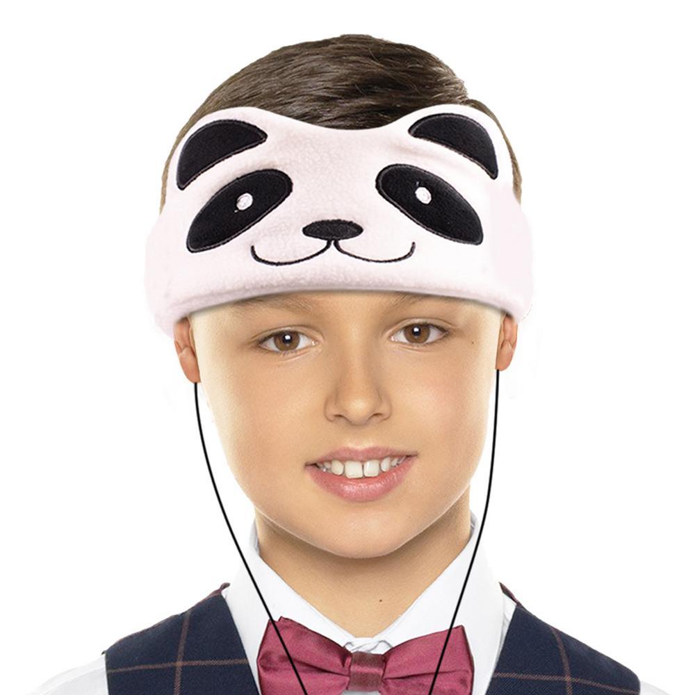 Kids Headphones Volume Limiter Machine Washable Fleece Headphones for Children Travel/Home w/ Adjustable Band (Panda)