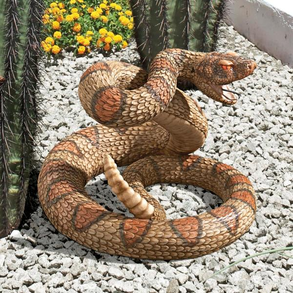 9.5 in. H Western Diamond Back Rattlesnake Statue