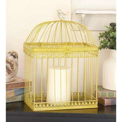 Large: 16 in., Small: 12 in. New Traditional Yellow Iron Standing Birdcages
