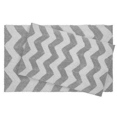 Reversible Cotton Soft Zigzag Gray 2-Piece Bath Mat Set