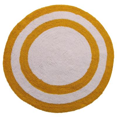 Two Tone 36 in. Round Cotton Reversible Yellow/White 200 GSF Machine Washable Bath Rug