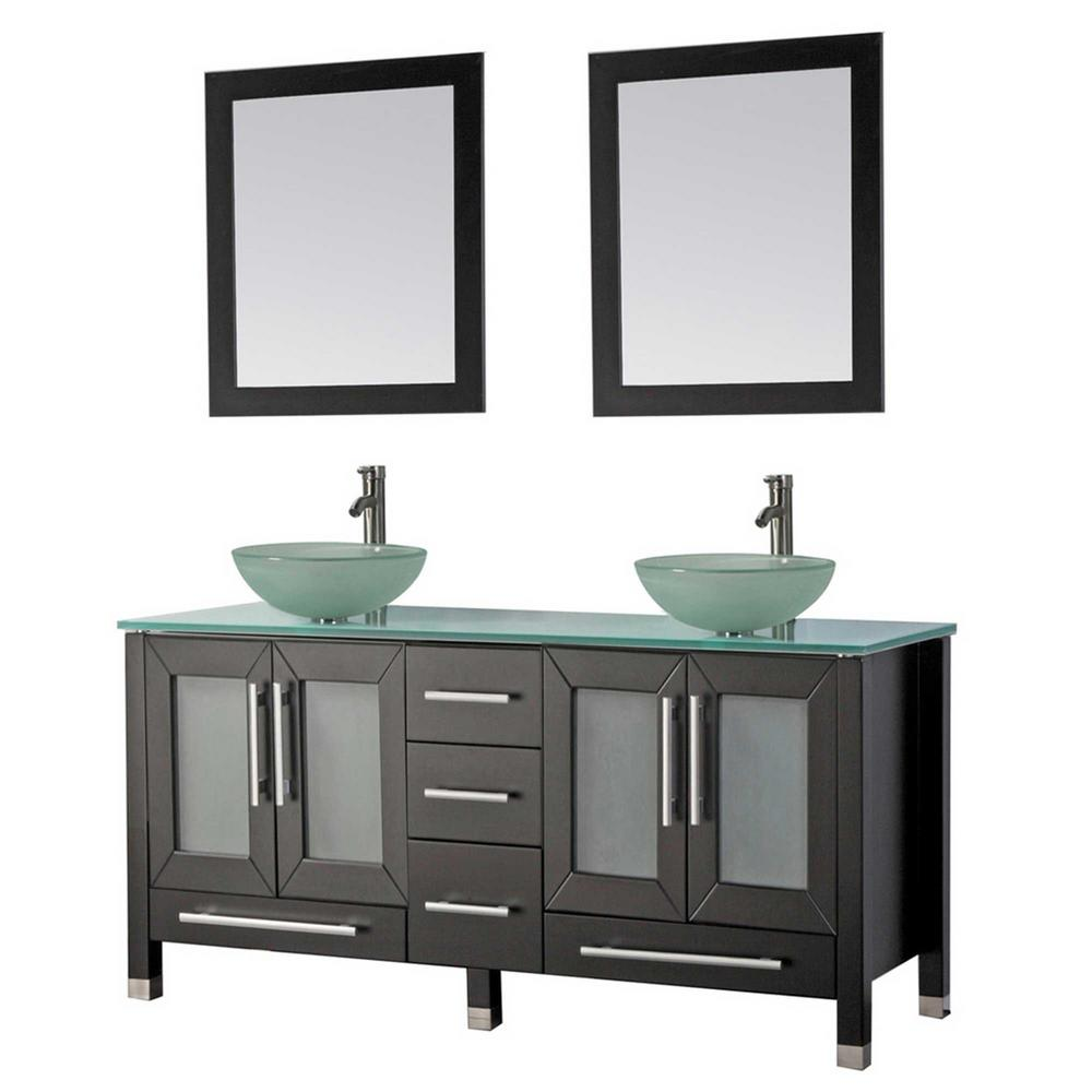 MTD Vanities Cuba 71 in. W x 20.5 in. D x 36 in. H Vanity in Espresso with Glass Vanity Top in Aqua with Green Basins and Mirrors