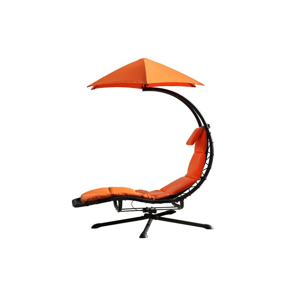 Original Dream 360° Rotating Single Patio Lounge Chair with Orange Zest Cushion