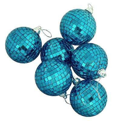 Peacock Blue Mirrored Glass Disco Ball Christmas Ornaments (6-Count)