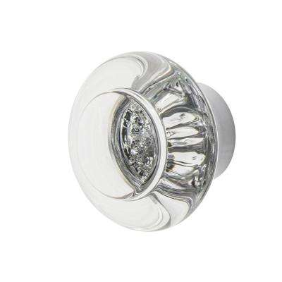 Round Clear Crystal 1-3/8 in. Cabinet Knob in Bright Chrome