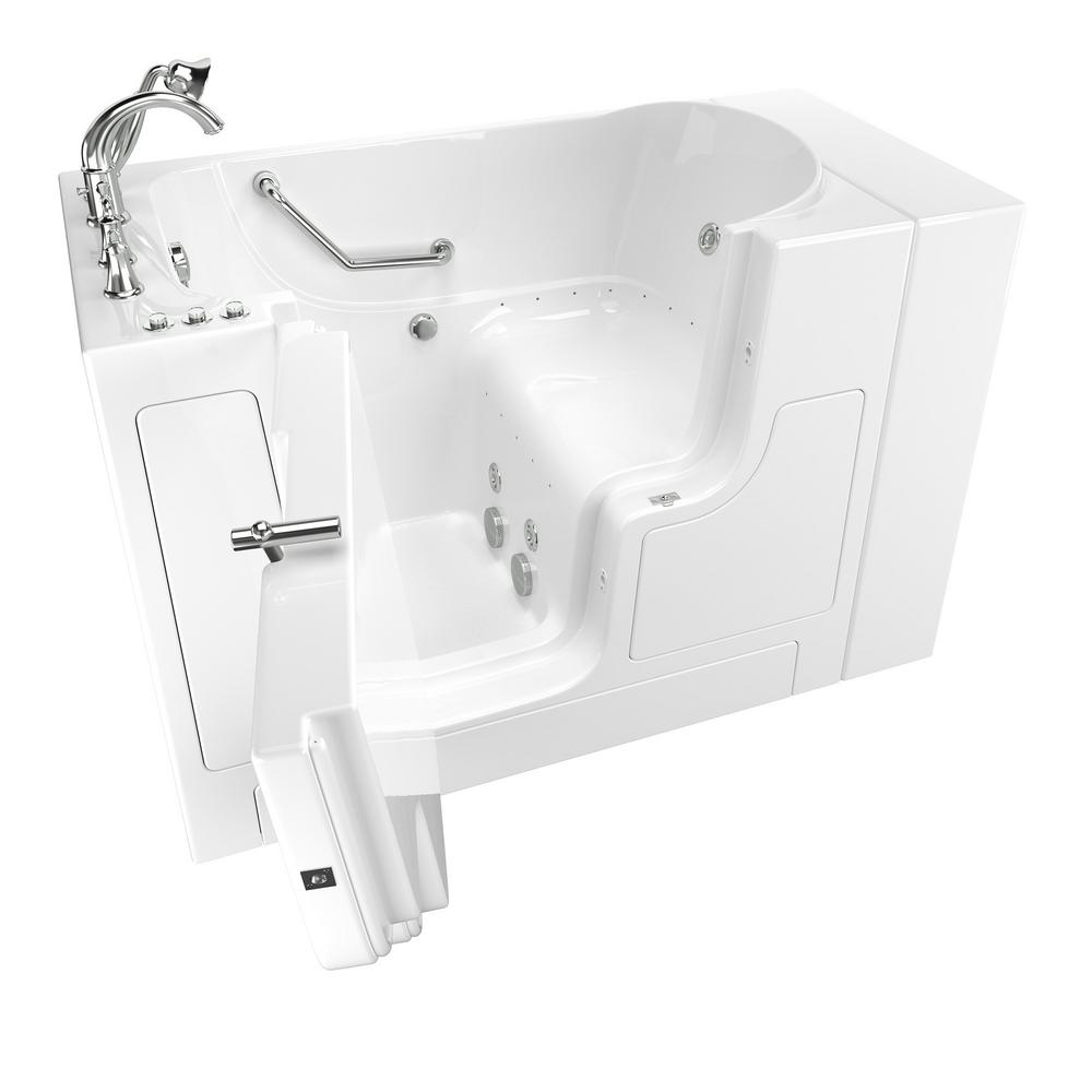American Standard Gelcoat Value Series 51 in. Left Hand Walk-In Whirlpool and Air Bathtub with Outward Opening Door in White