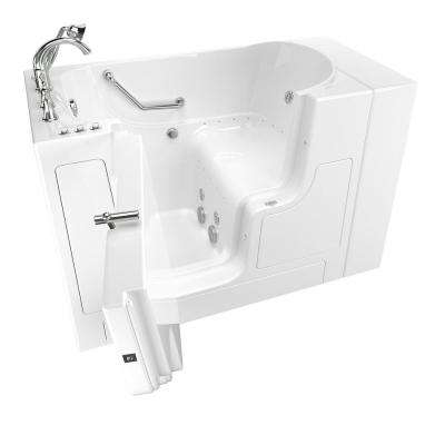 Gelcoat Value Series 51 in. Left Hand Walk-In Whirlpool and Air Bathtub with Outward Opening Door in White